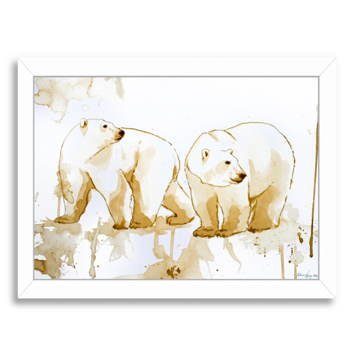 Coffee Polar Bears by Allison Gray Framed Print - Wall Art - Americanflat