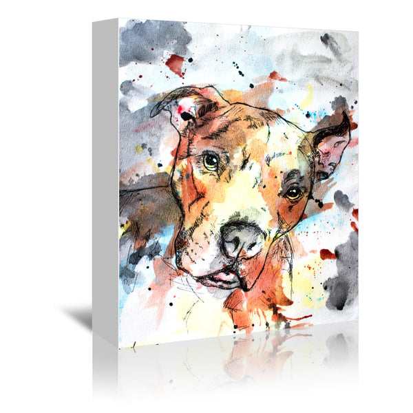 Colorful Dog by Allison Gray Wrapped Canvas