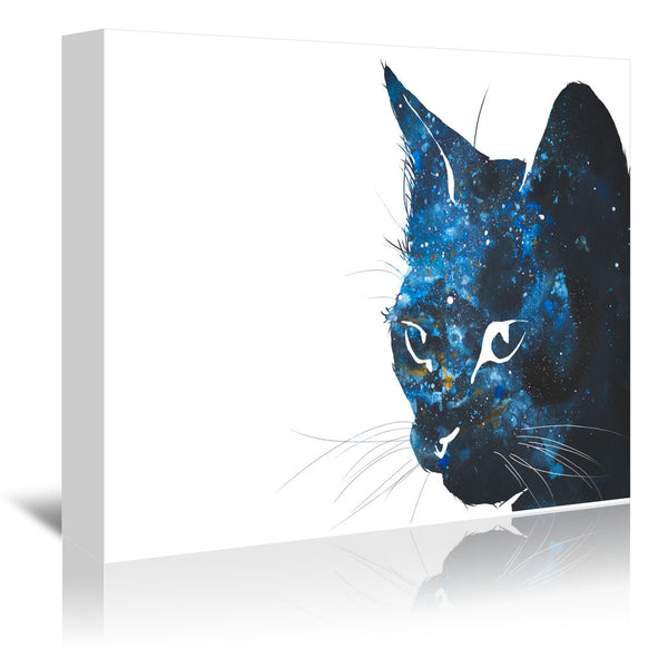Cosmic Cat Silhouette by Allison Gray Wrapped Canvas