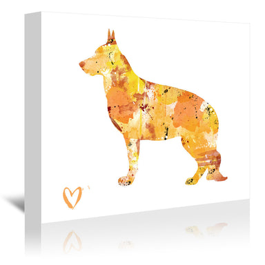 German Shepherd Silhouette 1 by Allison Gray Wrapped Canvas - Wrapped Canvas - Americanflat