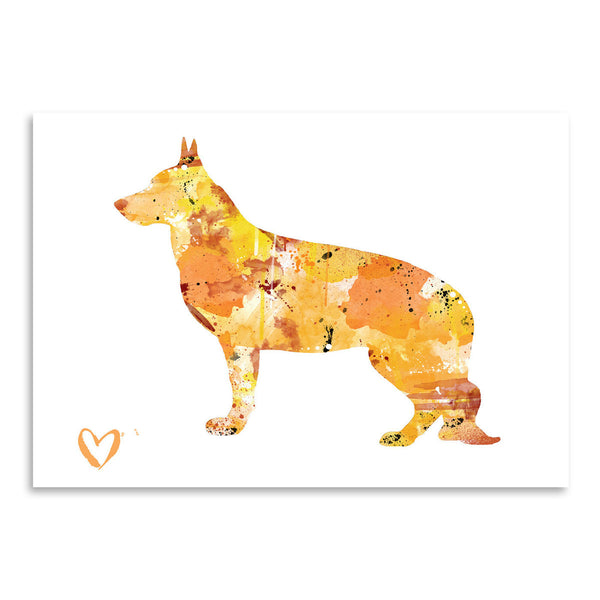 German Shepherd Silhouette 1 by Allison Gray Art Print