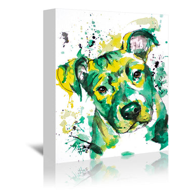 Green Puppy by Allison Gray Wrapped Canvas - Wrapped Canvas - Americanflat