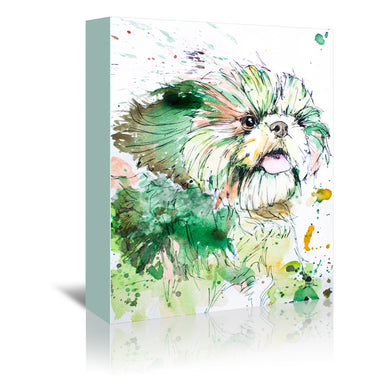 Green Shih Tzu by Allison Gray Wrapped Canvas - Wrapped Canvas - Americanflat