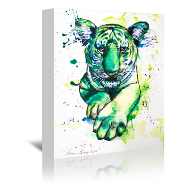 Green Tiger by Allison Gray Wrapped Canvas - Wrapped Canvas - Americanflat