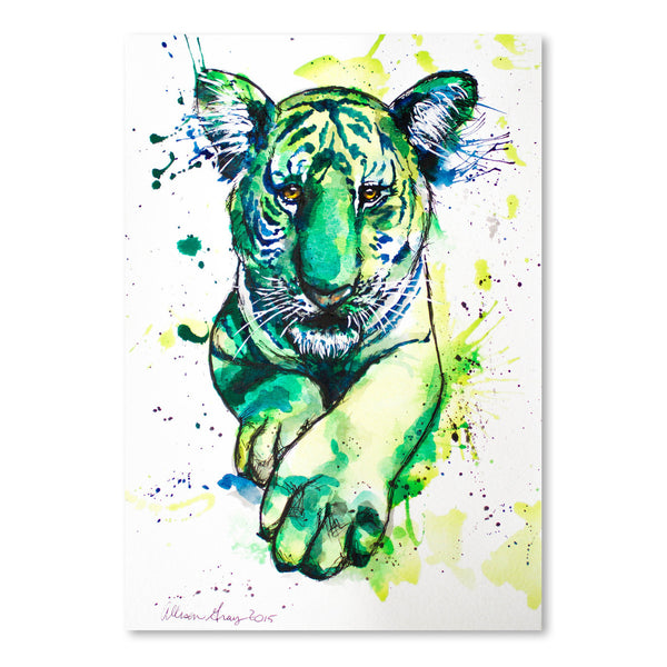 Green Tiger by Allison Gray Art Print