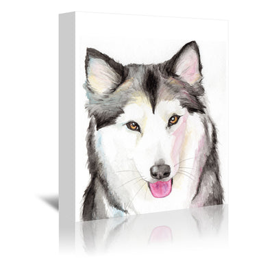 Husky by Allison Gray Wrapped Canvas - Wrapped Canvas - Americanflat