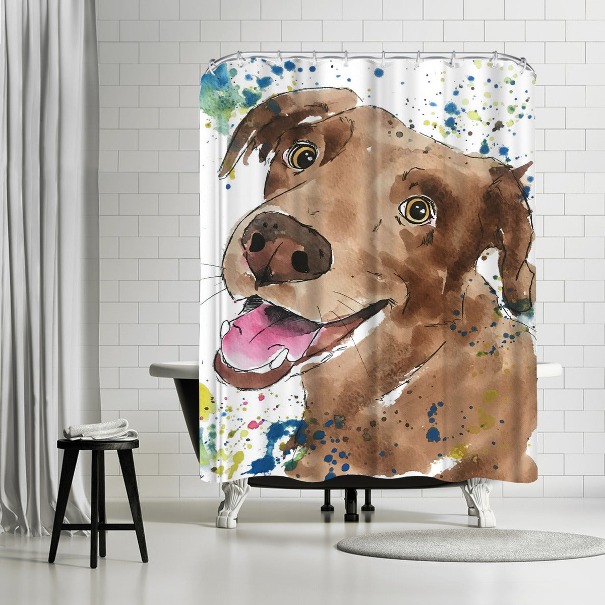 Chocolate Lab Pup by Allison Gray Shower Curtain -  - Americanflat