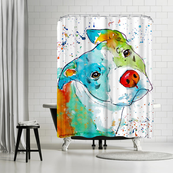 Color Pop Pup by Allison Gray Shower Curtain