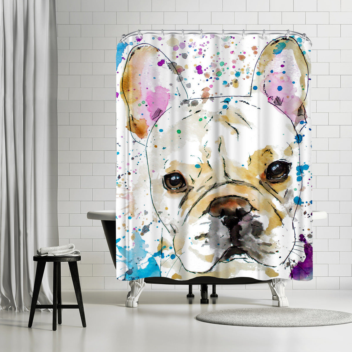 French Bulldog by Allison Gray Shower Curtain -  - Americanflat