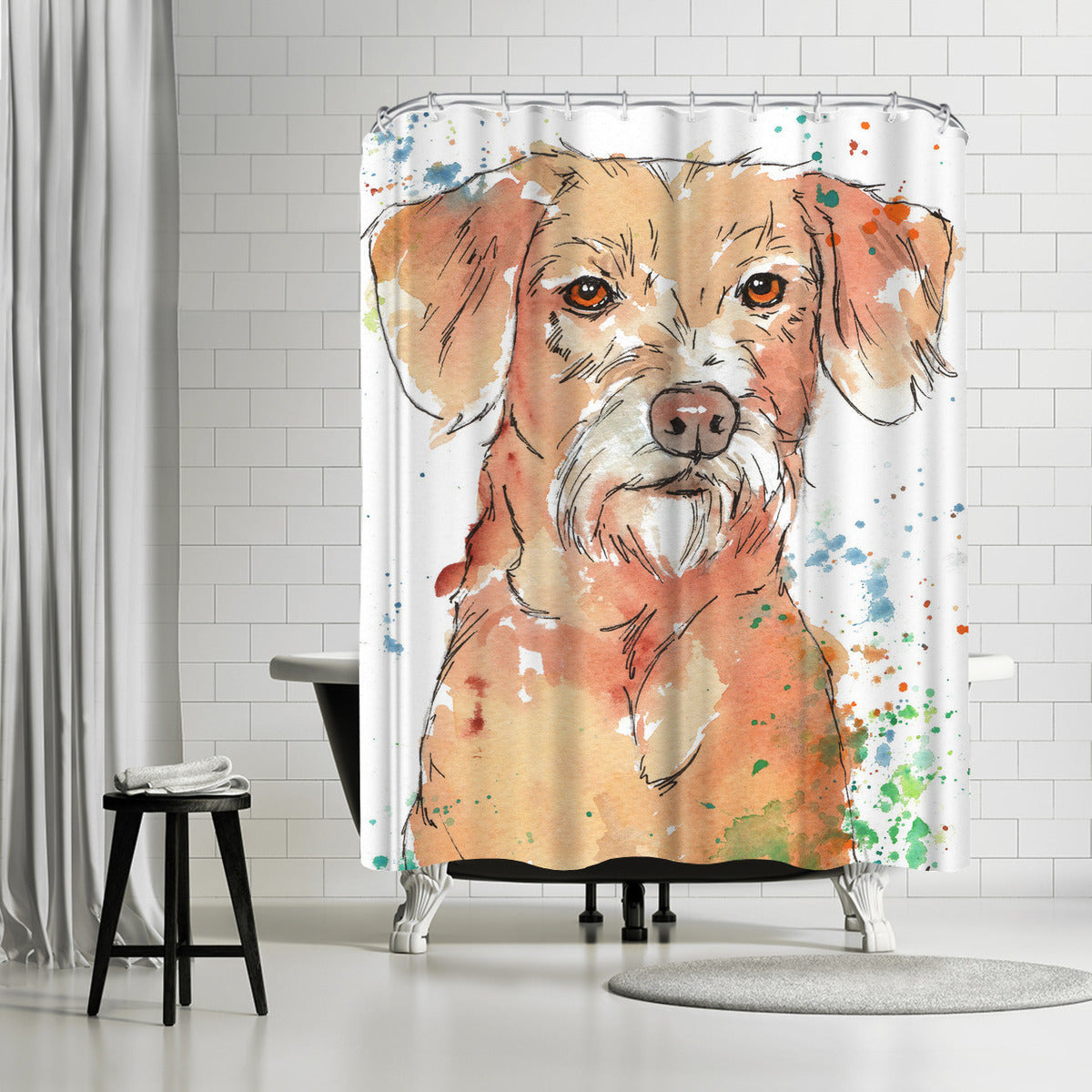 Noble Terrier by Allison Gray Shower Curtain - Shower Curtain - Americanflat