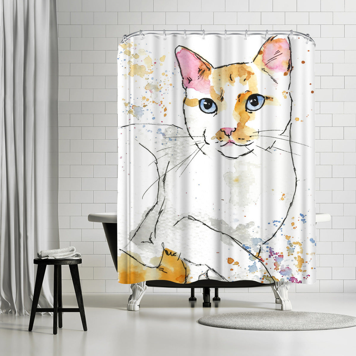 Orange Siamese by Allison Gray Shower Curtain -  - Americanflat