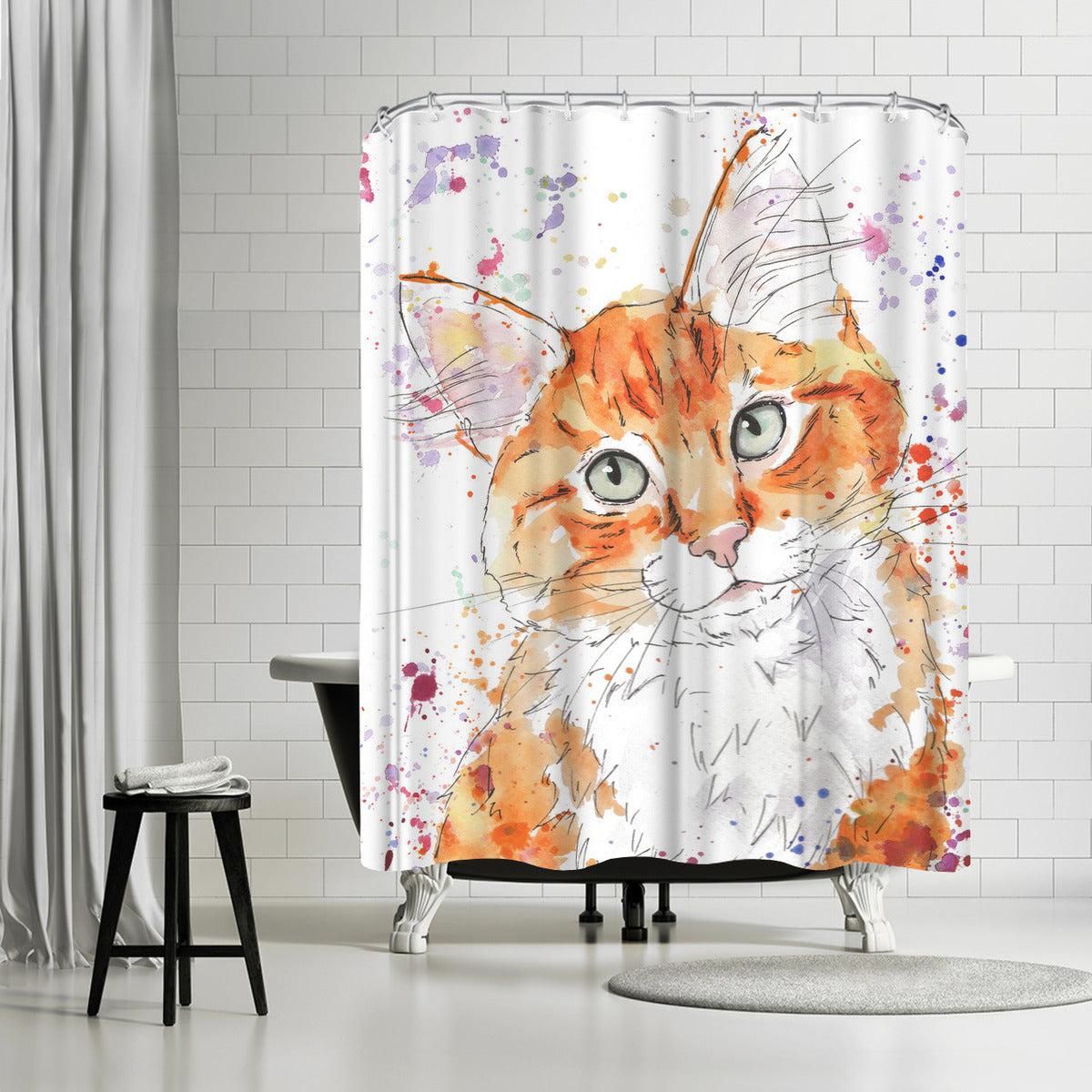Orange Tabby Kitten by Allison Gray Shower Curtain - Shower Curtain - Americanflat