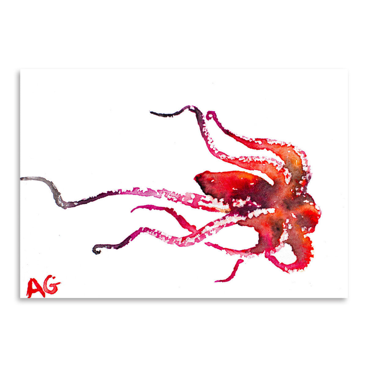 Red Octopus by Allison Gray Art Print - Art Print - Americanflat