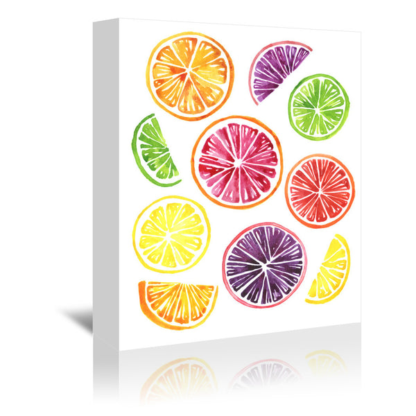Citrus Wheels Colorful white by Sam Nagel Wrapped Canvas