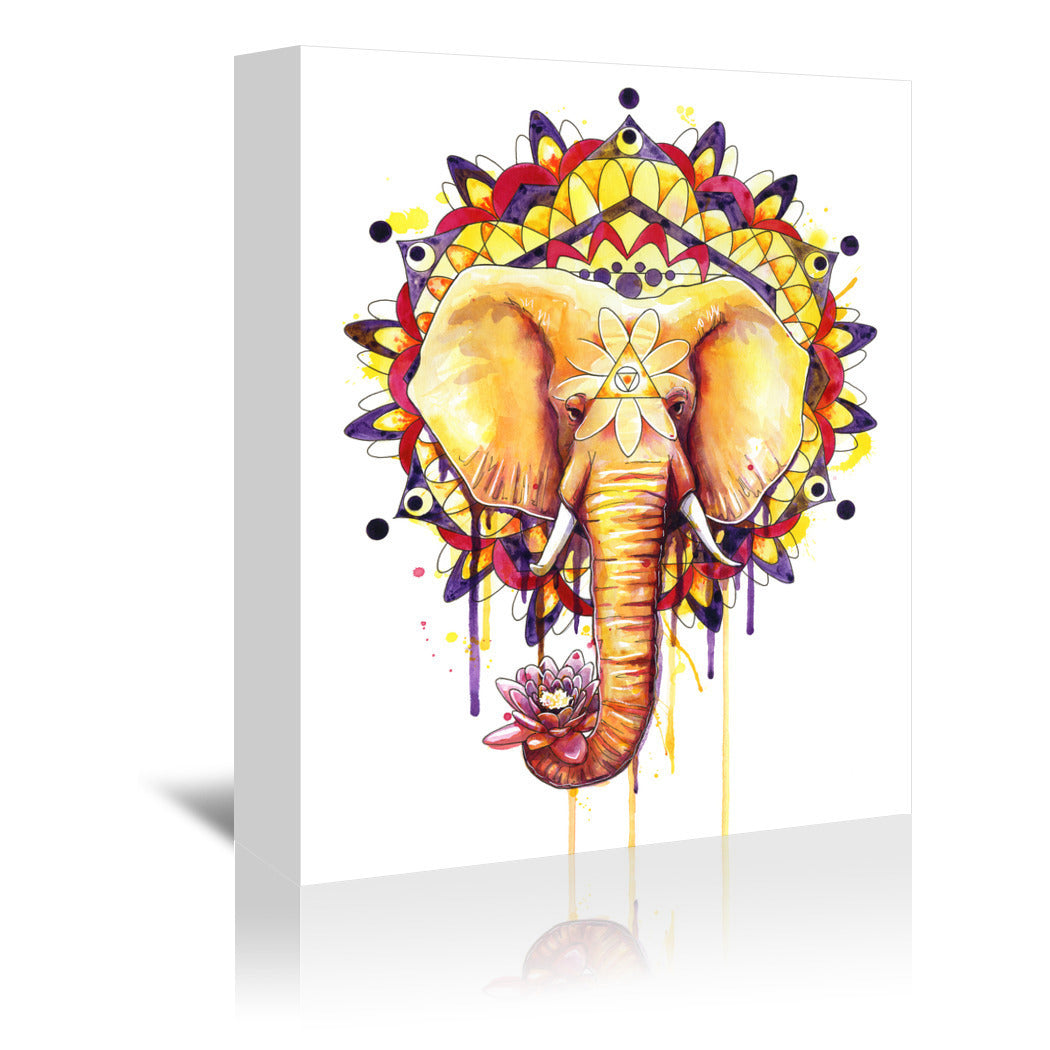 Elephant Mandala by Sam Nagel Wrapped Canvas - Wrapped Canvas - Americanflat
