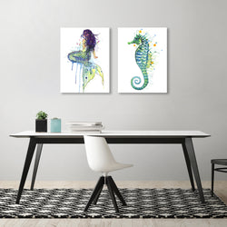 Mermaid by Sam Nagel - 2 Piece Gallery Wrapped Canvas Set