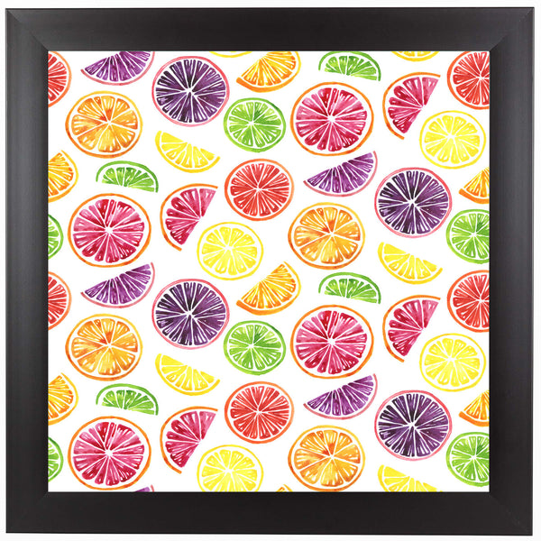 Citrus Wheels Repeat Tile Colorful White by Sam Nagel Framed Print