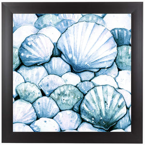 Scallop Shells Aqua by Sam Nagel Framed Print