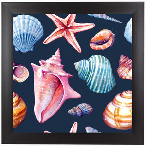 Seashells Pattern Colorful Dark Repeat Tile by Sam Nagel Framed Print