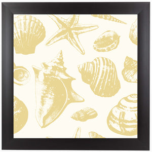 Seashells Pattern Gold Repeat Tile by Sam Nagel Framed Print