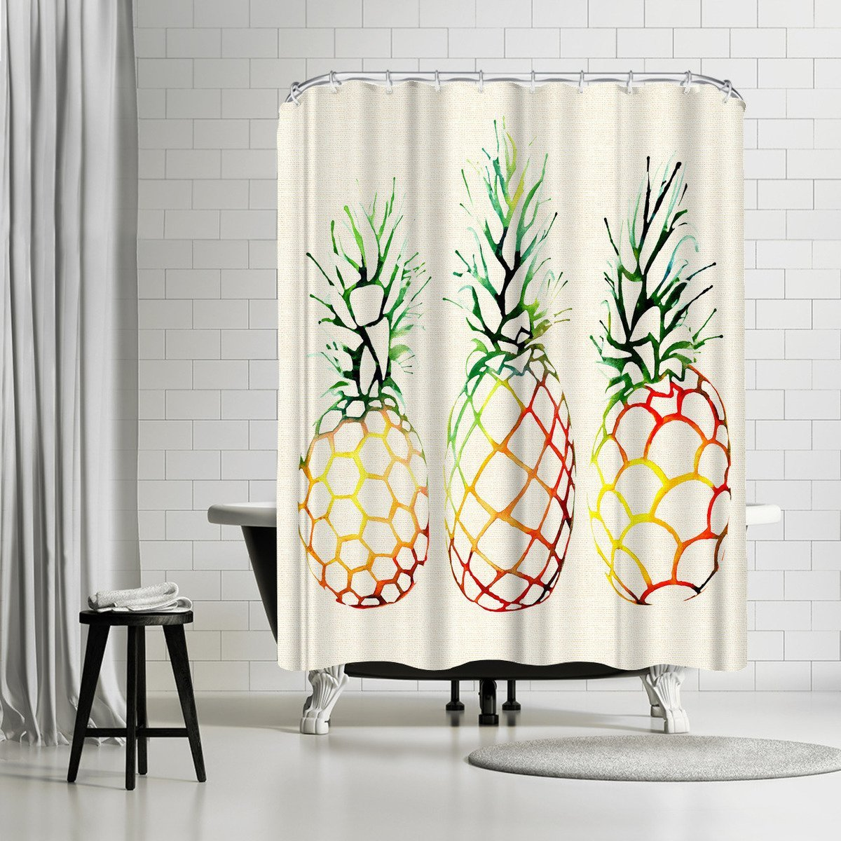 Burlap Pineapples by Sam Nagel Shower Curtain - Shower Curtain - Americanflat