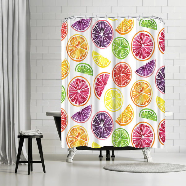 Citrus Wheels Colorful White by Sam Nagel Shower Curtain