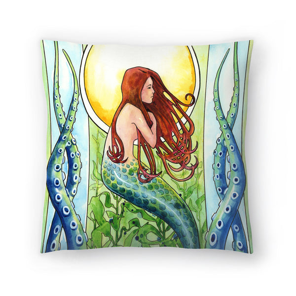 Kelp Forest Mermaid by Sam Nagel Decorative Pillow