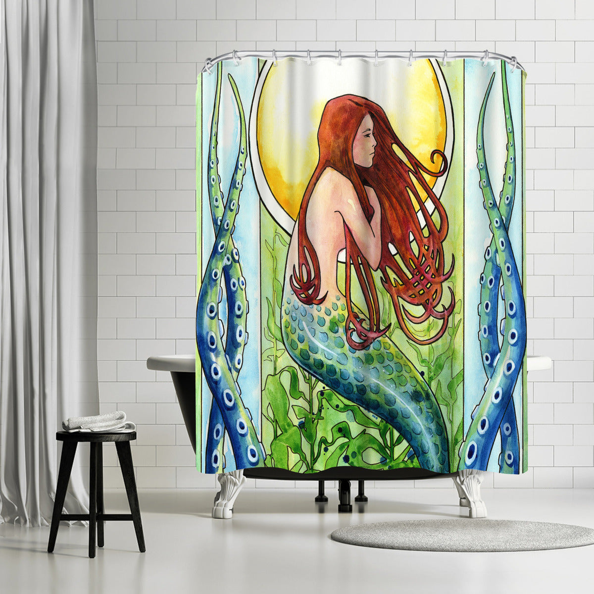 Kelp Forest Mermaid by Sam Nagel Shower Curtain -  - Americanflat