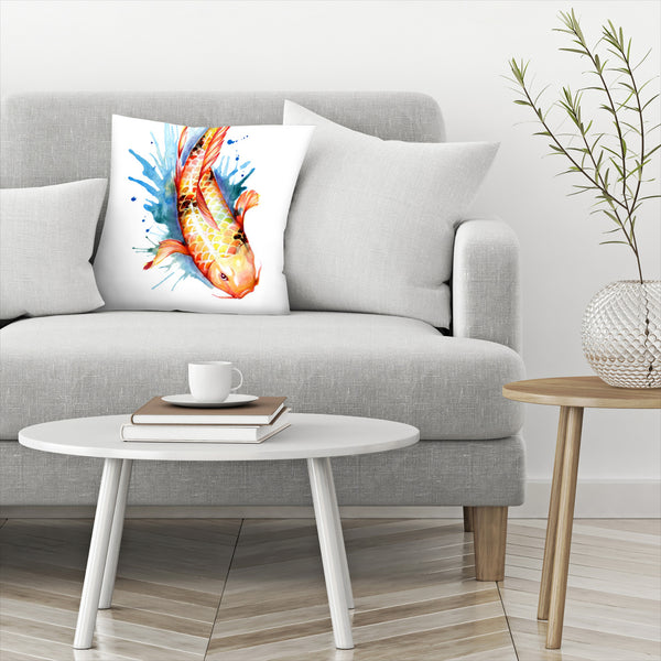 Koi Fish 2 by Sam Nagel Decorative Pillow