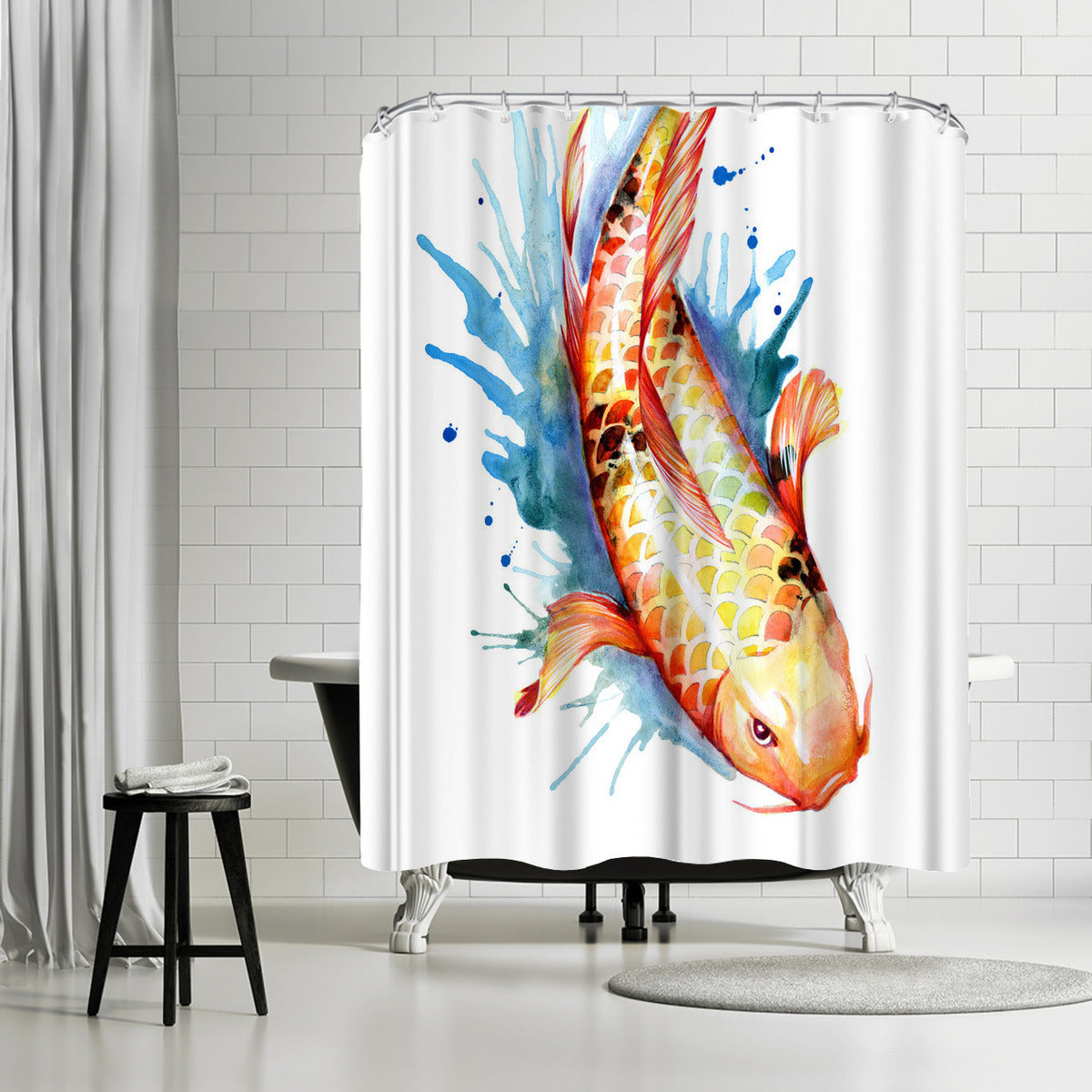 Koi Fish 2 by Sam Nagel Shower Curtain - Shower Curtain - Americanflat