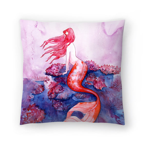 Red Coral Mermaid by Sam Nagel Decorative Pillow