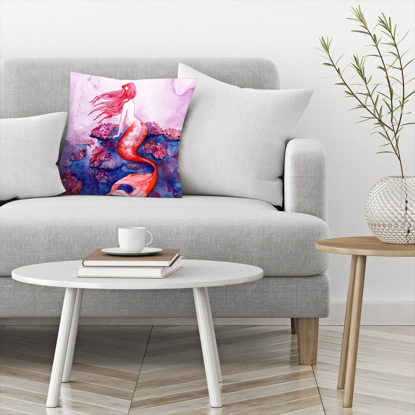 Red Coral Mermaid by Sam Nagel Decorative Pillow - Decorative Pillow - Americanflat