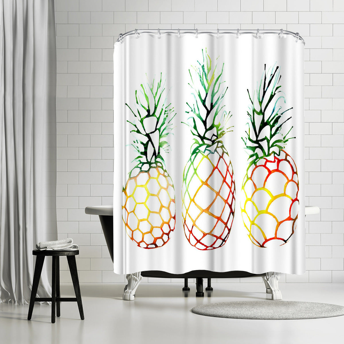 Retro Pineapples by Sam Nagel Shower Curtain -  - Americanflat
