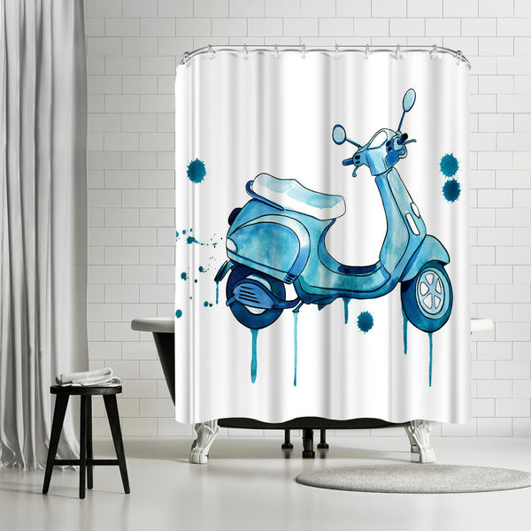 Scooter Away by Sam Nagel Shower Curtain