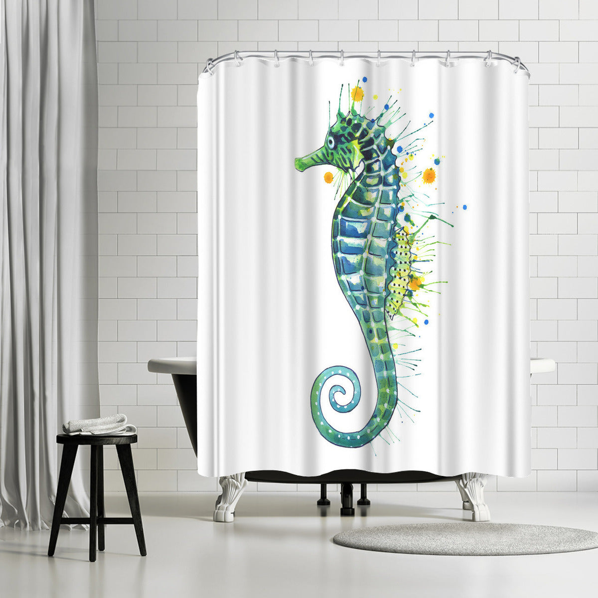 Seahorse Green by Sam Nagel Shower Curtain -  - Americanflat