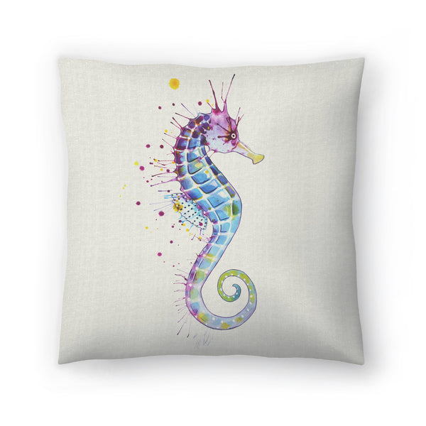 Seahorse Purple Natural by Sam Nagel Decorative Pillow