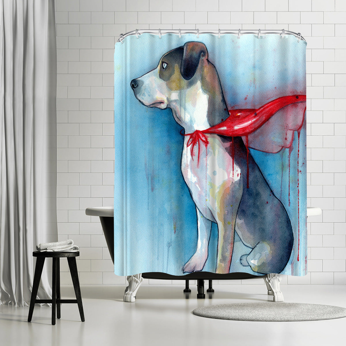 Super Dog by Sam Nagel Shower Curtain - Shower Curtain - Americanflat
