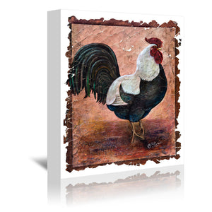 Rooster by OLena Art Wrapped Canvas