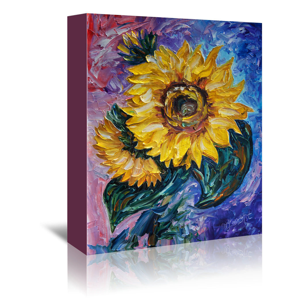 That Sunflower From The Sunflower State by OLena Art Wrapped Canvas - Wrapped Canvas - Americanflat