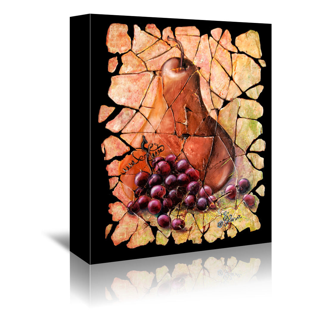 Vintage  Pear And Grapes Fresco by OLena Art Wrapped Canvas - Wrapped Canvas - Americanflat