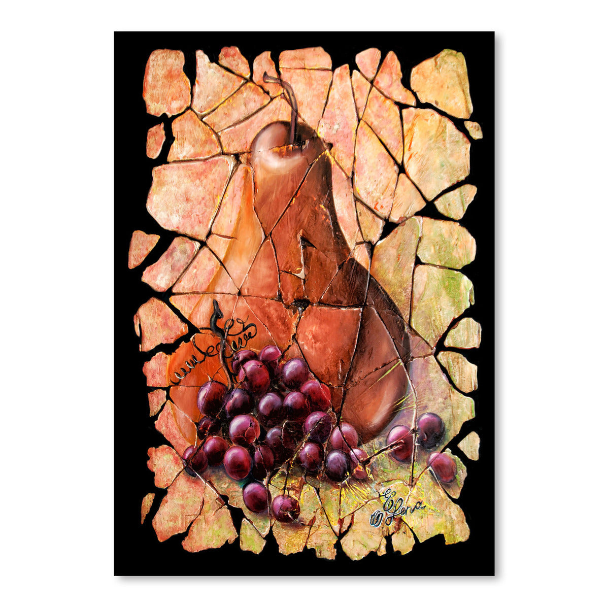 Vintage  Pear And Grapes Fresco by OLena Art  Print - Art Print - Americanflat