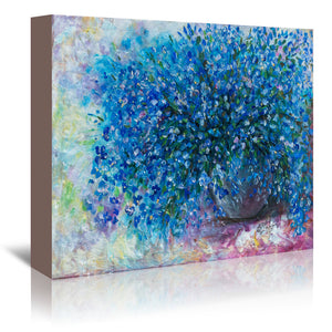 Forget Me Nots by OLena Art Wrapped Canvas