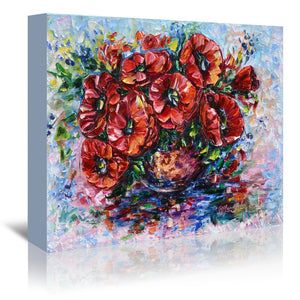 Poppies In Vase by OLena Art Wrapped Canvas