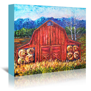 Red Barn Tiff by OLena Art Wrapped Canvas - Wrapped Canvas - Americanflat