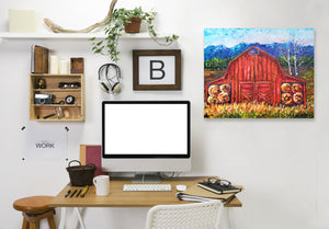 Red Barn Tiff by OLena Art Wrapped Canvas