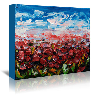 Red Poppy Field by OLena Art Wrapped Canvas - Wrapped Canvas - Americanflat