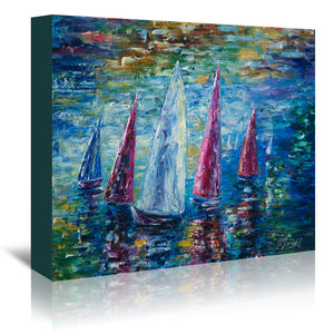 Sails To Night by OLena Art Wrapped Canvas