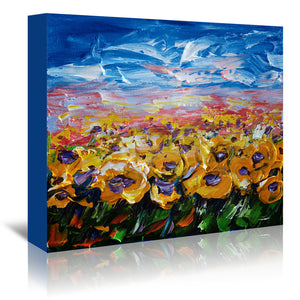 Sunflower Field by OLena Art Wrapped Canvas