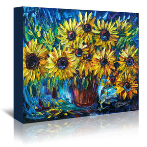 Sunflowers by OLena Art Wrapped Canvas