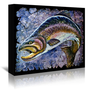 Vintage Blue Trout Fresco by OLena Art Wrapped Canvas